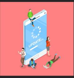 Smartphone app update flat isometric vector