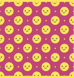 smiling ball characters emoji seamless pattern vector image