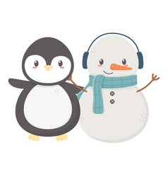 Snowman with scarf and penguin celebration merry vector