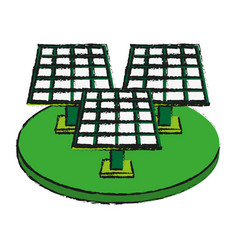Solar panel cartoon draw vector