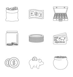 Sponsor help icons set outline style vector