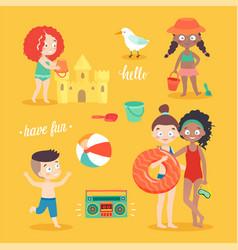 summer kids card set swimming playing vector image