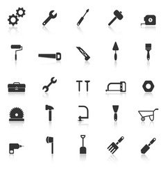 Tool icons with reflect on white background vector image