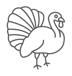 turkey bird thin line icon animal and farm vector image