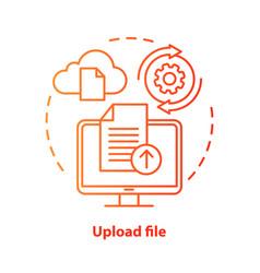 Upload file red concept icon data transfer idea vector