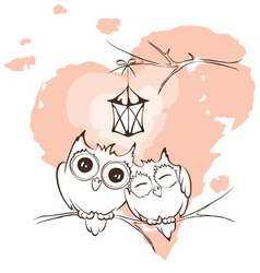 Valentine card - love owls vector image