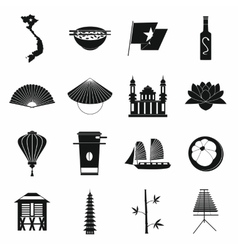 Vietnam icons set simple style vector image