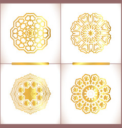 Vintage gold round pattern set vector