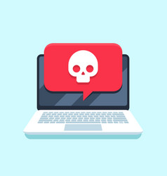 virus notification on notebook screen malware vector image