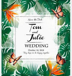 wedding invitation design with exotic leaves vector image