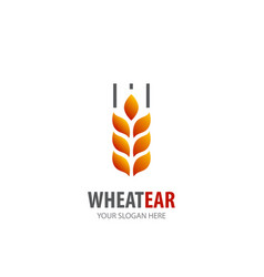 wheat ear logo for business company simple wheat vector image