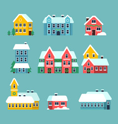 winter houses urban xmas holidays snowy city vector image