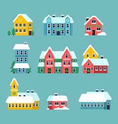 Winter houses urban xmas holidays snowy city vector