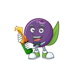 With beer acai berries character for fresh fruit vector