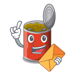 With envelope metal food cans on a cartoon vector