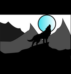 Wolf in darkness vector