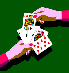womans hands with playing cards fan vector image