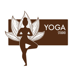 yoga exercise practice monochrome sketch outline vector image