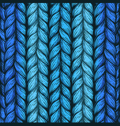 blue hand drawn background of knitted threads vector image