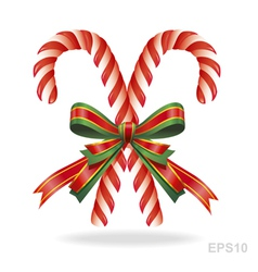 Christmas candy cane and ribbon vector image vector image