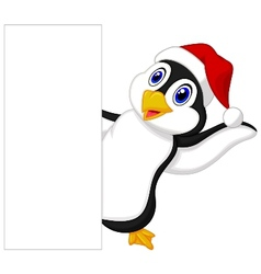 Cute penguin cartoon with red hat waving vector image vector image