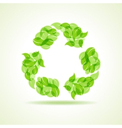 Eco leaves make a recycle icon vector image