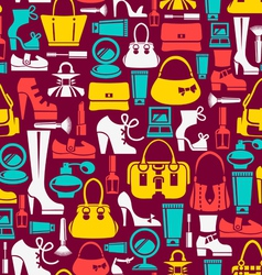 Seamless pattern with beauty female icons vector image