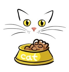 Cat face with bowl on white background vector image