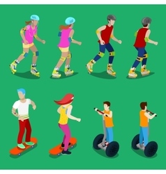 Isometric Active Sporty People on Roller-Skates vector image vector image