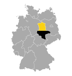 Map of germany with flag of saxony-anhalt vector