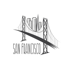 San Francisco-Oakland Bay Bridge and buildings vector image