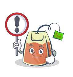Tea bag character cartoon with sign vector