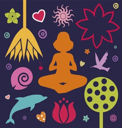 yoga spring collection vector image vector image