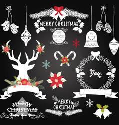 Chalkboard Christmas FlowersDeerRustic Christmas vector image vector image