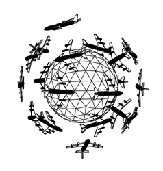 Globe with airplane vector image