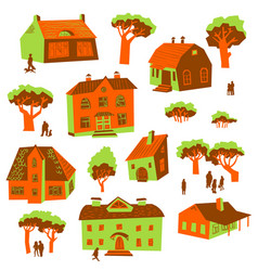 architecture design elements set of cute vector image