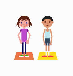 girl and boy got ready for the physical exercises vector image vector image