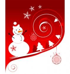 snowman Christmas card vector image