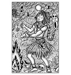 voodoo warlock engraved fantasy vector image vector image