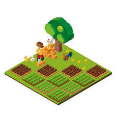 3d design for farmer and farmland vector