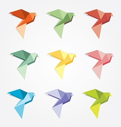 3d origami low polygon birds vector image