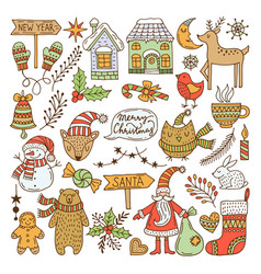 a large set of christmas doodles vector image