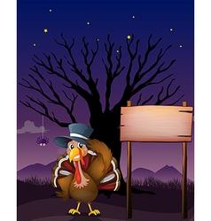 A turkey beside a blank board vector
