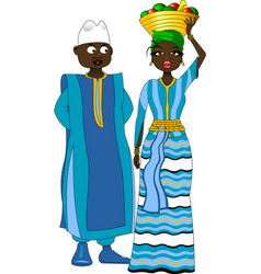 African woman with fruit basket on her head vector