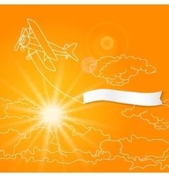 airplane with blank banner flying in sunny vector image