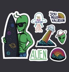 Alien stickers vector