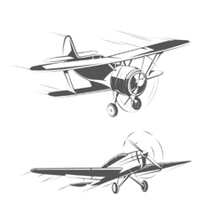 Biplane and monoplane aircrafts for vintage vector image