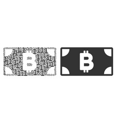 Bitcoin cash banknote collage of binary digits vector