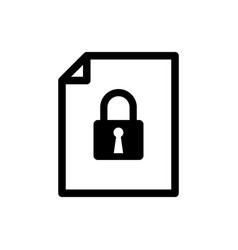 Black document and lock icon isolated file format vector