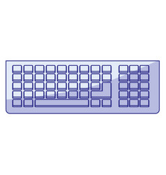 Blue shading silhouette of computer keyboard vector